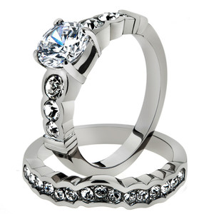 2.35 CT ROUND ZIRCONIA STAINLESS STEEL 316L ENGAGEMENT WEDDING RING SET SZ 5-10