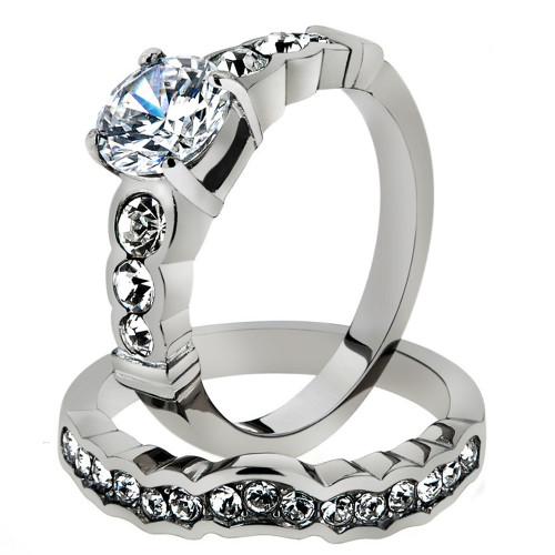 2.35 CT ROUND ZIRCONIA STAINLESS STEEL 316L ENGAGEMENT WEDDING RING SET SZ 5-10