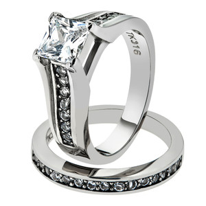 316 Princess Cut Zirconia Wedding Ring Band Set Women's Size 5-11