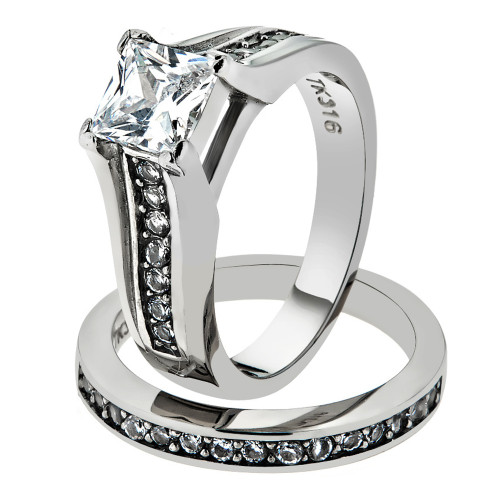 ARTK969 Stainless Steel 316 Princess Cut Zirconia Wedding Ring Band