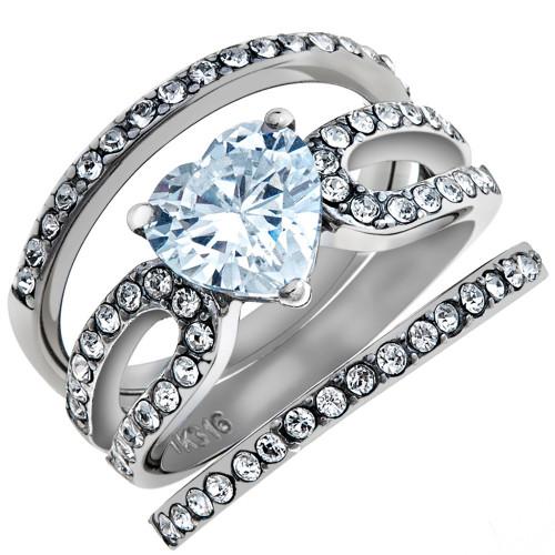 artk2041 heart shape 315 ct cz wedding engagement ring 3 piece set womens size 5 10 - 3 Piece Wedding Ring Set