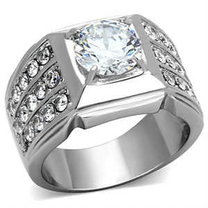 Men's 2.94 CT Round Cut Simulated Diamond Silver Ring Size 8-13