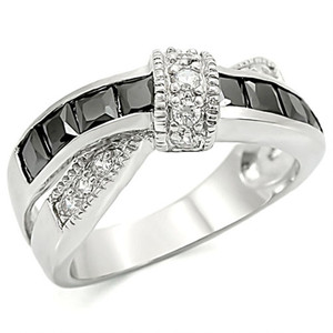 Stainless Steel 1.75 CT Jet Black & Clear Zirconia Fashion Ring Women's Size 5-10