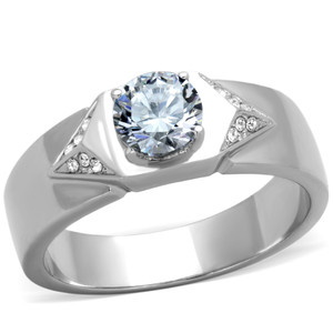 Men's .87 CT Round Cut Simulated Diamond Silver Ring Size 8-13