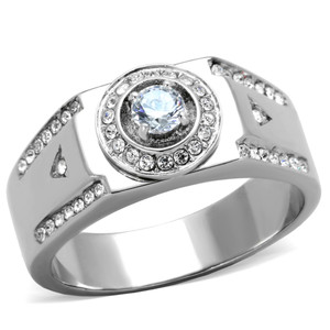 Men's 1/2 CT Round Cut Simulated Diamond Silver Stainless Steel Ring Size 8-13