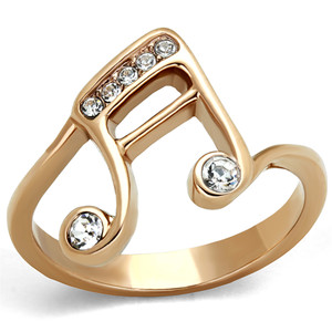 Rose Gold Plated Stainless Steel Crystal Musical Note Fashion Ring Women Size 5-10
