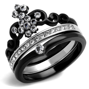 Women's Black Ion Plated Stainless Steel CZ Crown Wedding Ring Band Set Size 5-10
