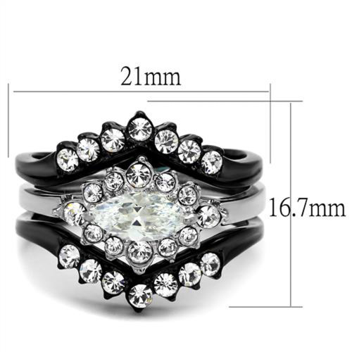 ARTK2188 Stainless Steel 195 Ct Marquise Cut Zirconia Black