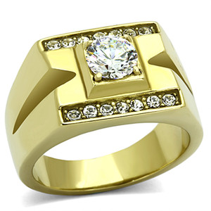 Men's 14K Gold Ion Plated 1.26 CT Simulated Diamond Ring Size 8-13