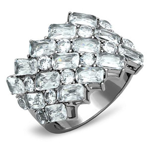 Stainless Steel Stunning Silver Wide Band Zirconia Fashion Ring Women's Size 5-10