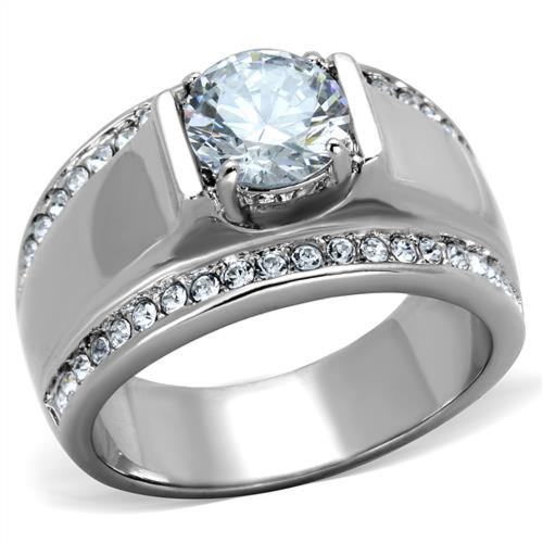 Stainless Steel Men's 2.25 Ct Round Cut Simulated Diamond Silver Ring Sizes 8-13