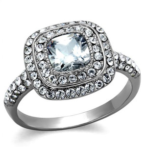 Stainless Steel 2.55 Ct Halo Cushion Cut Zirconia Engagement Ring Women's Sz 5-10