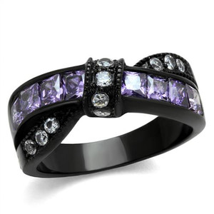Stainless Steel 1.75 Ct Amethyst & Clear Zirconia Black Fashion Ring Size 5-10