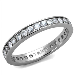 Women's Round Cut AAA Zirconia Eternity Anniversary Wedding Ring Band Size 5-10
