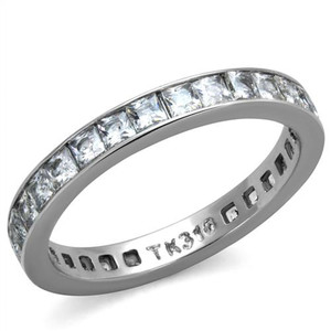 Women's Princess Cut AAA CZ Eternity Anniversary Wedding Ring Band Size 5-10