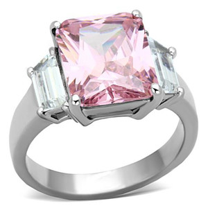 Stainless Steel 6.64 Ct Emerald Cut Rose Zirconia Engagement Ring Womens Sz 5-10