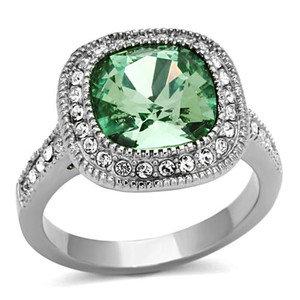 Stainless Steel 4 Ct Emerald Color Cushion Cut Stainless Steel Halo Engagement Ring Size 5-10
