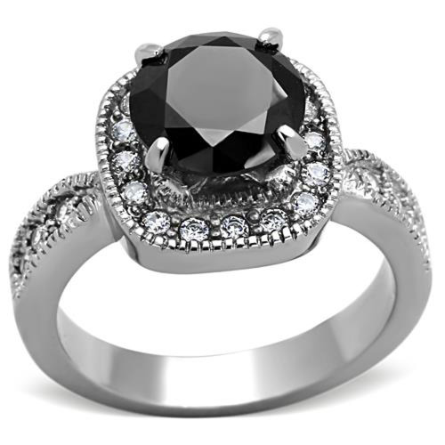 ARTK1322 Stainless Steel 3 Ct Round Cut Faux Black Diamond Halo