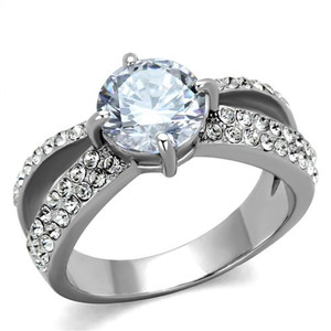 Stainless Steel 2.56 Ct Round Cut CZ Split Band Engagement Ring Women's Size 5-10