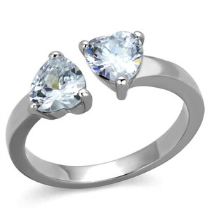 Stainless Steel 1.48 CT Heart Shape Zirconia Promise/Cuff Ring Women's Size 5-10