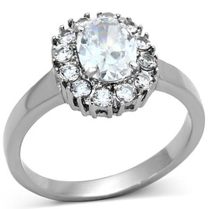 Stainless Steel 2.15 Ct Halo Oval Cut Zirconia Engagement Ring Women's Sz 5-10