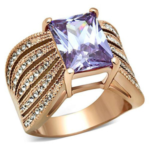 Stainless Steel Womens Light Amethyst Emerald Cut CZ Rose Gold Plated Ring 5-10