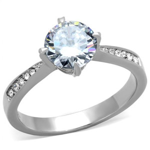 Stainless Steel 1.30 Ct Round Cut Cubic Zirconia Engagement Ring Women's Sz 5-10
