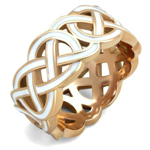 Stainless Steel Rose Gold Plated & White Epoxy Design Fashion Ring Women Sz 5-10
