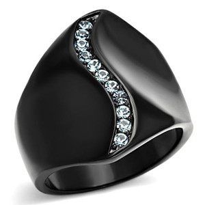 Stainless Steel Women's Aquamarine Crystal Black Wide Band Fashion Ring Sz 5-10