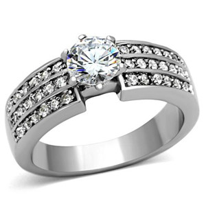Stainless Steel 1.02 Ct Round Cut Cubic Zirconia Engagement Ring Women's Sz 5-10