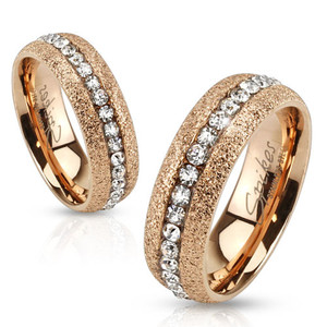 ARH78486 Stainless Steel Glittery Rose Gold Ion Plated Zirconia Wedding Band Ring Sz 5-13