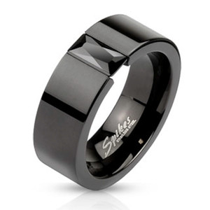 ARM2620 Stainless Steel Princess Cut Cz Black IP Wedding Ring Band Unisex Size 5-14