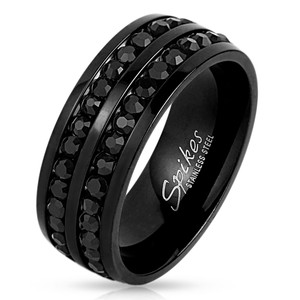 ARH98788 Stainless Steel Black Ion Plated & Double Lined Black Zirconia Wedding Band Men's Size 9-13