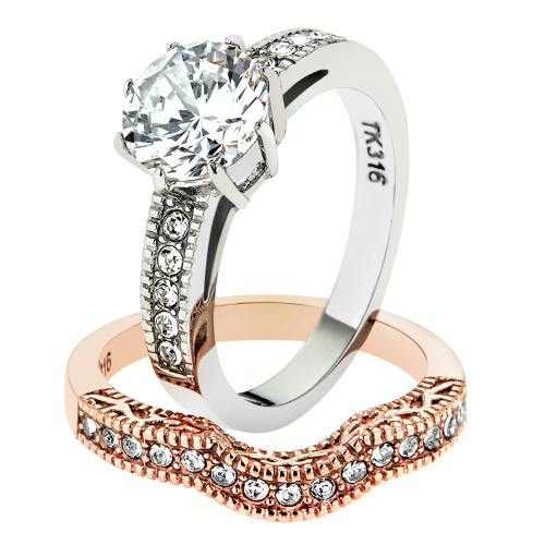 Stainless Steel 2.80 Ct Round Cut Zirconia Rose Gold IP Wedding Ring Set Sz 5-10