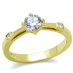 Stainless Steel .69Ct Round Cut Cz 14K Gold Plated Engagement Ring Women's Sz 5-10