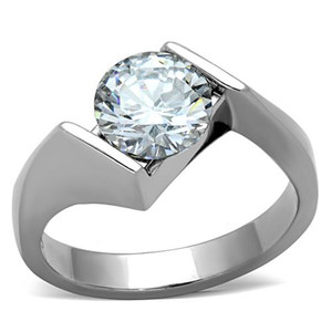 2.04 CT ROUND CUT CUBIC ZIRCONIA STAINLESS STEEL ENGAGEMENT RING