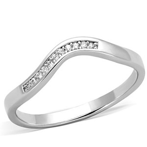 .06 Ct Cubic Zirconia Stainless Steel Curved Band Promise Ring