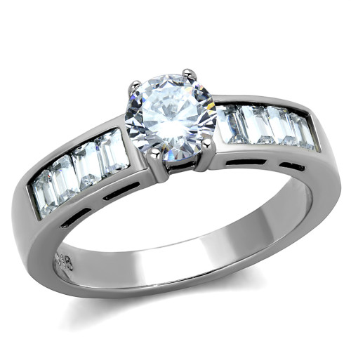 1.64 CT ROUND CUT & BAGUETTES CZ STAINLESS STEEL ENGAGEMENT RING