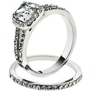 1.8 Ct Halo Princess Cut CZ Stainless Steel Wedding Ring Set