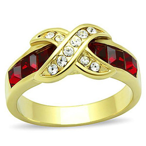 1.50 CT RUBY RED CZ 14K GOLD PLATED STAINLESS STEEL FASHION RING
