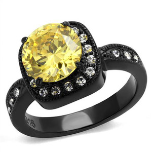 3.25 CT ROUND CUT YELLOW & CLEAR CZ BLACK HALO DESIGN FASHION RING