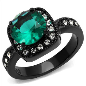 3.25CT ROUND CUT BLUE ZIRCON & CLEAR CZ BLACK HALO DESIGN FASHION RING