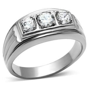 Men's Round Cut Simulated Diamond Silver Stainless Steel 316 Ring