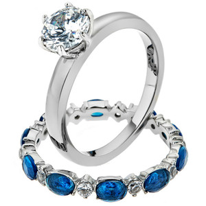 2.25 Ct Round Cut Clear & Blue CZ Stainless Steel Wedding Set Women's