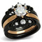 Women's Rose Gold & Black Stainless Steel AAA CZ Wedding Ring Band Set