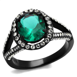 3.26Ct Blue Zircon Halo CZ Black Stainless Steel Engagement Ring