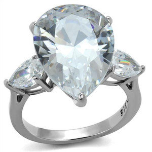 Womens 11.83Ct Pear Shape Cubic Zirconia Stainless Steel Engagement Ring