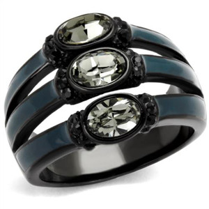 Black & Blue IP Stainless Steel Black Diamond Crystal Fashion Ring