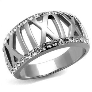 Stainless Steel Roman Numeral Crystal Anniversary Ring Band