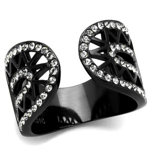 Stainless Steel Black Ion Plated Crystal Finger Cuff Fashion Ring